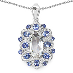 6.10 Carat Genuine Crystal Quartz, Tanzanite & White Diamond .925 Sterling Silver Pendant