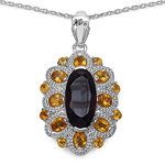 6.40 Carat Genuine Smoky Topaz, Citrine & White Diamond .925 Sterling Silver Pendant