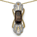 14K Yellow Gold Plated 3.73 Carat Genuine Smoky Topaz & White Diamond .925 Sterling Silver Pendant