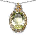"""10.52 Carat Genuine Lemon Quartz, Citrine & White Diamond .925 Sterling Silver Pendant"""