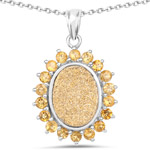 7.70 Carat Genuine Golden Drusy and Citrine .925 Sterling Silver Pendant