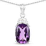 5.93 Carat Genuine Amethyst and White Topaz .925 Sterling Silver Pendant