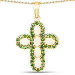 14K Yellow Gold Plated 3.11 Carat Genuine Ethiopian Opal and Chrome Diopside .925 Sterling Silver Pendant