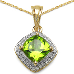 14K Yellow Gold Plated 2.31 Carat Genuine Peridot & White Topaz .925 Streling Silver Pendant
