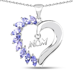 1.26 Carat Genuine Tanzanite .925 Sterling Silver Pendant