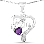 0.49 Carat Genuine Amethyst and White Topaz .925 Sterling Silver Pendant