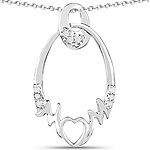 0.14 Carat Genuine White Diamond .925 Sterling Silver Pendant