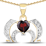 14K Yellow Gold Plated 1.05 Carat Genuine Garnet and White Topaz .925 Sterling Silver Pendant