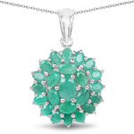 4.09 Carat Genuine Emerald .925 Sterling Silver Pendant