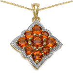 14K Yellow Gold Plated 3.90 Carat Genuine Citrine .925 Streling Silver Pendant