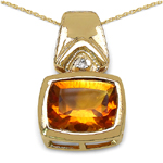 14K Yellow Gold Plated 2.61 Carat Genuine Citrine & White Diamond .925 Streling Silver Pendant