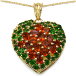14K Yellow Gold Plated 5.62 Carat Genuine Citrine & Chrome Diopside .925 Streling Silver Pendant