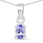 0.44 Carat Genuine Tanzanite .925 Sterling Silver Pendant
