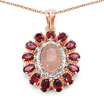 14K Rose Gold Plated 7.44 Carat Genuine Morganite & Rhodolite .925 Sterling Silver Pendant
