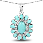 8.06 Carat Genuine Turquoise .925 Sterling Silver Pendant