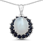 6.69 Carat Genuine White Moonstone, Blue Sapphire & White Diamond .925 Sterling Silver Pendant