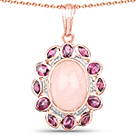 """14K Rose Gold Plated 9.54 Carat Genuine Morganite, Rhodolite and White Topaz .925 Sterling Silver Pendant"""
