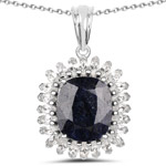 8.66 Carat Dyed Sapphire and White Topaz .925 Sterling Silver Pendant