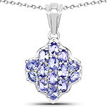 2.38 Carat Genuine Tanzanite .925 Sterling Silver Pendant