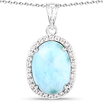 13.55 Carat Genuine Larimar and White Topaz .925 Sterling Silver Pendant