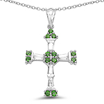 2.41 Carat Genuine Chrome Diopside & White Topaz .925 Sterling Silver Pendant