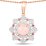 """14K Rose Gold Plated 3.72 Carat Genuine Morganite, Rhodolite and White Topaz .925 Sterling Silver Pendant"""