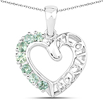 0.98 Carat Genuine Green Sapphire .925 Sterling Silver Pendant