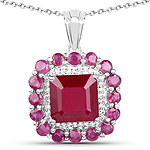 8.48 Carat Glass Filled Ruby and White Topaz .925 Sterling Silver Pendant