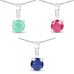 """1.68 Carat Emerald, Glass Filled Ruby and Glass Filled Sapphire .925 Sterling Silver Pendant"""