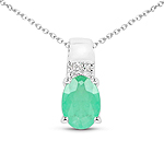0.74 Carat Genuine Zambian Emerald and White Topaz .925 Sterling Silver Pendant