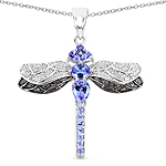 1.93 Carat Genuine Tanzanite and White Topaz .925 Sterling Silver Pendant