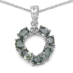 1.78 Carat Genuine Green Sapphire & White Diamond .925 Sterling Silver Pendant
