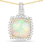 3.12 Carat Genuine Ethiopian Opal and White Diamond 14K Yellow Gold Pendant