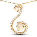 0.50 Carat Genuine Ethiopian Opal and White Diamond 14K Yellow Gold Pendant
