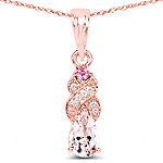 """0.43 Carat Genuine Morganite, Pink Tourmaline and White Diamond 14K Rose Gold Pendant"""
