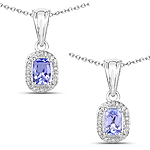 0.67 Carat Genuine Tanzanite and White Zircon .925 Sterling Silver Pendant