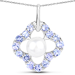 3.00 Carat Genuine Pearl and Tanzanite .925 Sterling Silver Pendant
