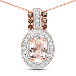 18K Rose Gold Plated 0.95 Carat Genuine Morganite, Smoky Quartz and White Zircon .925 Sterling Silver Pendant