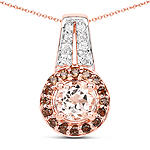 18K Rose Gold Plated 1.29 Carat Genuine Morganite, Smoky Quartz and White Zircon .925 Sterling Silver Pendant