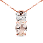 18K Rose Gold Plated 0.75 Carat Genuine Morganite, Smoky Quartz and White Zircon .925 Sterling Silver Pendant