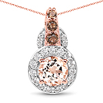 """18K Rose Gold Plated 1.34 Carat Genuine Morganite, Smoky Quartz and White Zircon .925 Sterling Silver Pendant"""