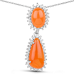 7.29 Carat Genuine Carnelian And White Topaz .925 Sterling Silver Pendant