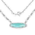2.76 Carat Genuine Amazonite And White Topaz .925 Sterling Silver Pendant