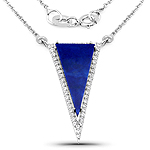 7.26 Carat Genuine Lapis And White Topaz .925 Sterling Silver Pendant