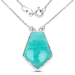 10.26 Carat Genuine Amazonite .925 Sterling Silver Pendant