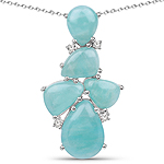 11.23 Carat Genuine Amazonite And White Topaz .925 Sterling Silver Pendant