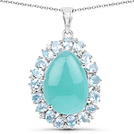 13.28 Carat Genuine Amazonite, Blue Topaz And White Topaz .925 Sterling Silver Pendant
