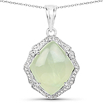 7.49 Carat Genuine Prehnite And White Topaz .925 Sterling Silver Pendant
