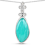 6.98 Carat Genuine Amazonite And White Topaz .925 Sterling Silver Pendant