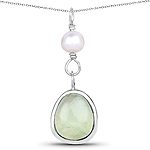 5.46 Carat Genuine Pearl And Prehnite .925 Sterling Silver Pendant